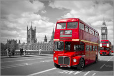 Gallery Print  Westminster Bridge and Red Buses - Melanie Viola