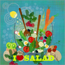 Wandsticker I love Salad