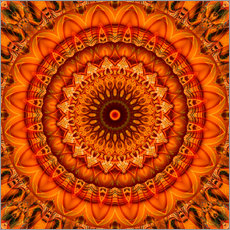 Wandsticker Mandala Blume orange1