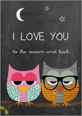Gallery Print  Eulen - I love you to the moon and back - GreenNest