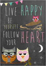 Wandsticker Live Happy, be yourself, follow your heart