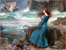 Holzbild  Miranda, das Unwetter - John William Waterhouse
