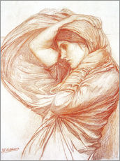 Wandsticker  Studie für Boreas - John William Waterhouse