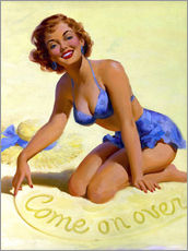 Wandsticker  Come On Over pinup - Art Frahm
