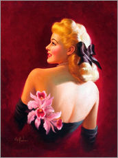 Wandsticker  Glamour Pin Up mit rosa Orchideen - Art Frahm