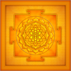 Wandsticker Golden Sri Yantra - Artwork II