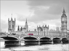 Wandsticker  Westminster Bridge mit Blick auf Big Ben und House of Parlament - Edith Albuschat