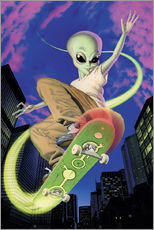 Gallery Print  Alien Skateboarder - Alien Invasion