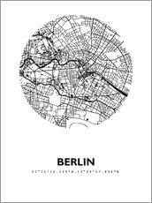 44spaces berlin stadtplan q2 indigo poster online bestellen posterlounge. Black Bedroom Furniture Sets. Home Design Ideas