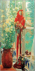 Flower still life with parrot at the window