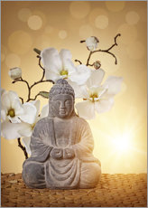 Buddha statue and orchid