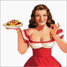 the girl with a pizza