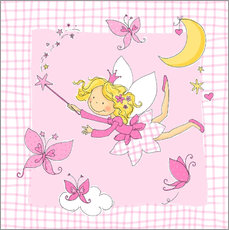 flying fairy with butterflies on checkered background