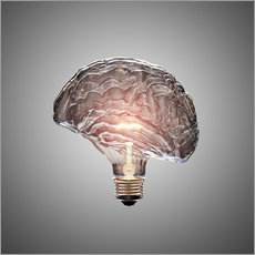 Conceptual light bulb brain illustrated