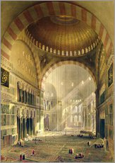 Haghia Sophia, plate 24: interior of the central dome with lowered chandeliers, engraved by Louis Ha