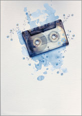 Music tape with flowers and watercolour wash