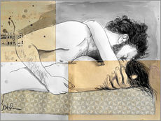 lovers on a patterned mattress
