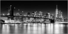 New York City Skyline bei Nacht (monochrom)