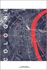 City of Cologne Map midnight