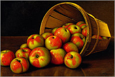 Still life with overturned basket with apples
