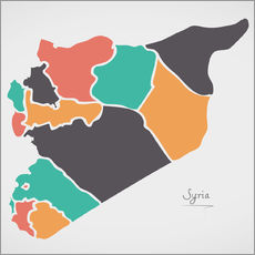 Syria map modern abstract with round shapes