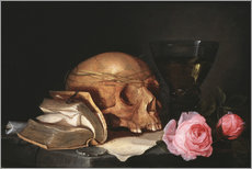 A Vanitas Still Life with a Skull, a Book and Roses
