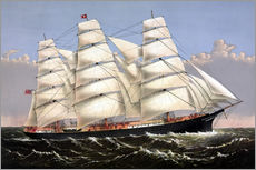 Vintage print of the Clipper ship Three Brothers.