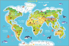World map with animals - English