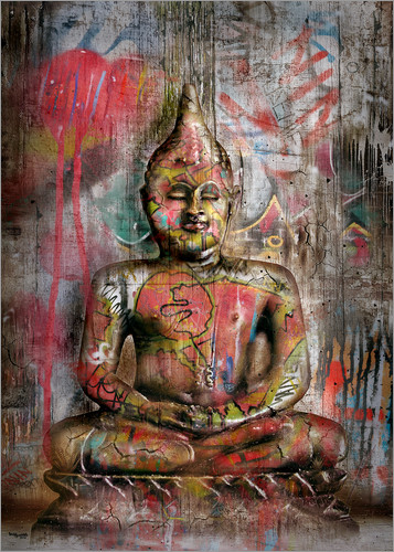 Poster Alter Buddha in Graffiti