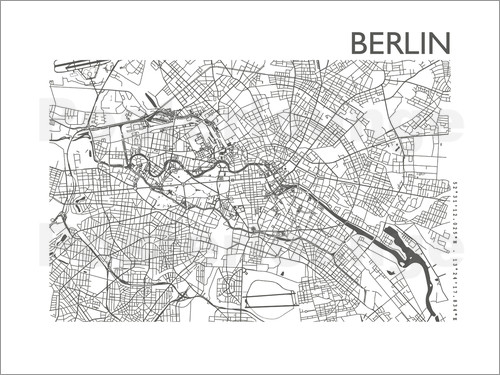 44spaces berlin stadtplan print steelgrey 44spaces poster online bestellen posterlounge. Black Bedroom Furniture Sets. Home Design Ideas