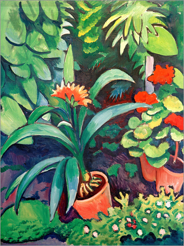 august macke blumen im garten clivia und pelargonien poster online bestellen posterlounge. Black Bedroom Furniture Sets. Home Design Ideas