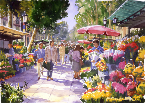 Paul Simmons - Blumenmarkt in Barcelona