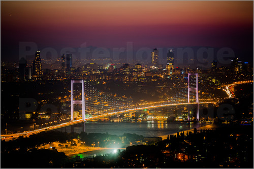 gn fotografie - Bosporus-Bridge at night - pink (Istanbul / Turkey)