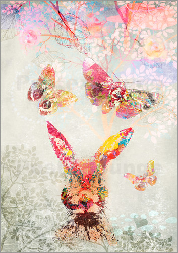 Poster Butterflies and Hare