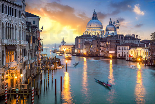 jan christopher becke canal grande bei sonnenuntergang in venedig italien poster online. Black Bedroom Furniture Sets. Home Design Ideas