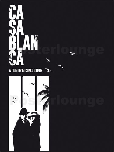 Golden Planet Prints - Casablanca classic movie inspired bw art