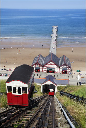 Mark Sunderland - Cliff Tramway and the Pier at Saltburn by the Sea, Redcar and Cleveland, North Yorkshire, Yorkshire,