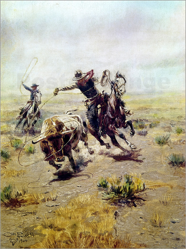 Charles Marion Russell - Cowboy Roping a Steer