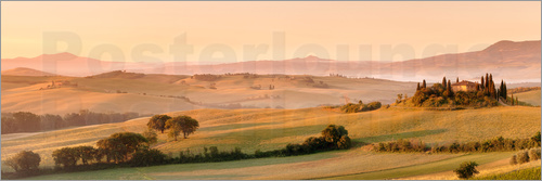 Markus Lange - Farm house Belvedere at sunrise, near San Quirico, Val d'Orcia (Orcia Valley), UNESCO World Heritage