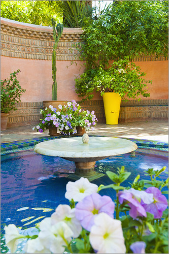 Matthew Williams-Ellis - Fountain and flowers in the Majorelle Gardens (Gardens of Yves Saint-Laurent), Marrakech, Morocco, N