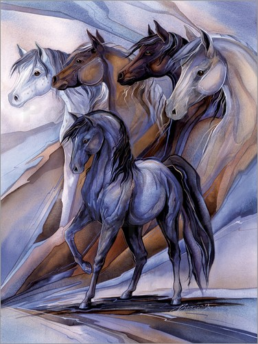 jody bergsma f nf pferde poster online bestellen posterlounge. Black Bedroom Furniture Sets. Home Design Ideas