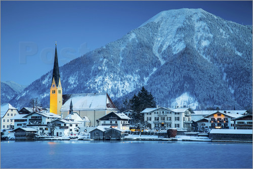 Poster Germany, Bavaria, Tegernsee, Alps. View from Rottach-Egern
