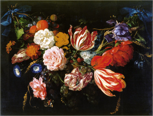 Poster Garland of flowers and fruits