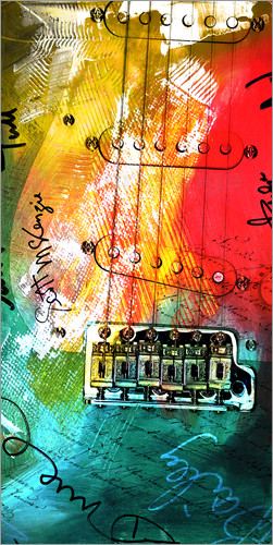Michael artefacti - Gitarre bunt Collage Musik rock n roll