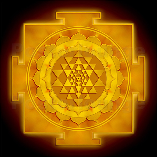 Poster Golden Sri Yantra