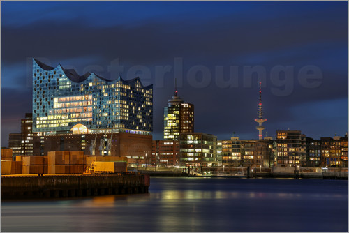 sabine wagner hafencity mit elbphilharmonie poster online bestellen posterlounge. Black Bedroom Furniture Sets. Home Design Ideas