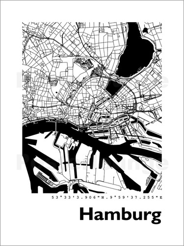 44spaces hamburg stadtplan hf poster online bestellen posterlounge. Black Bedroom Furniture Sets. Home Design Ideas