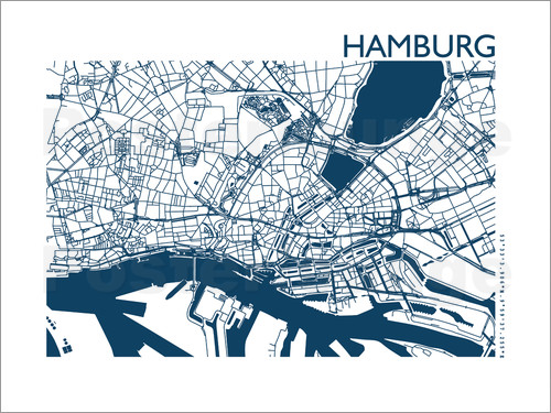 44spaces hamburg stadtplan indigo poster online bestellen posterlounge. Black Bedroom Furniture Sets. Home Design Ideas