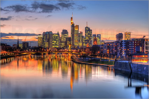 hadyphoto by hady khandani hdr frankfurt skyline mirroring in main river during twilight germany. Black Bedroom Furniture Sets. Home Design Ideas