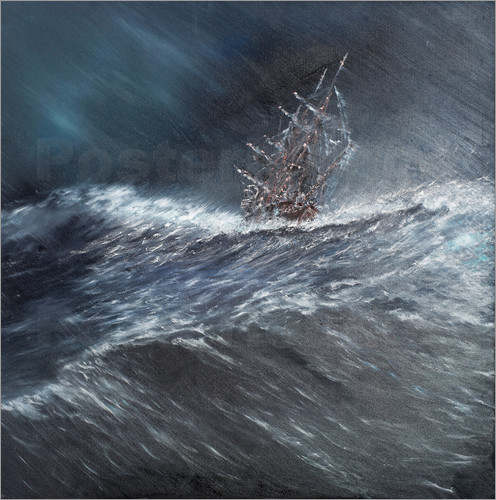 Vincent Alexander Booth - HMS Beagle in a storm off Cape Horn Dec. 24th 1832, 2014, Oil On Canvas